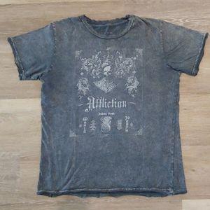 Affliction Men's Grey Distressed Graphic Shirt